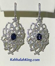 Platinum Sterling Silver Blue White Sapphire Halo Red Carpet Chandelier Earrings