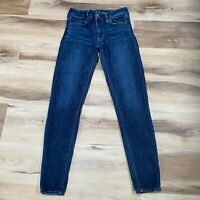 American Eagle Next Level Stretch Hi Rise JEGGING Destroyed Jeans Size 4 Long