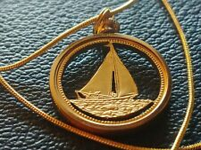 "1974 Bahamas Sailboat Cutout Coin Pendant on 24"" 18KGF Gold Filled Snake Chain"