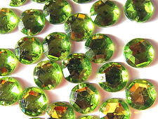 120 Lime Green Faceted Beads Acrylic Rhinestone Gem 12 mm Round Flat Back Sew On