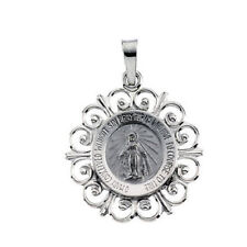 Miraculous Medal 14Kt White Gold 18mm Width Patron Saint Brand New