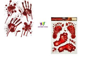 HALLOWEEN BLOODY HAND PRINTS & FOOT PRINTS STICKERS DECORATIONS PARTY SPOOKY NEW