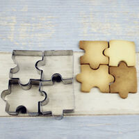 4Pc Puzzle Shape Fondant Cookie Mold Cutter Cake Decor Tool Stainless Steel Xmas
