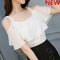 Short Sleeve Fashion T-Shirt Loose Shirt Women Chiffon Ladies Blouse Top Summer