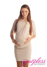 Casual Maternity Batwing Dress Tunic Pregnancy Wear Size 8 10 12 14 16 18 6407 Beige 16/18
