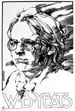 """W.B.YEATS IRISH WRITER Signed Print by Jim FitzPatrick. A4 11""""x8"""" IRELAND"""
