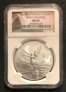 2014 MEXICO LIBERTAD 1 ONZA NGC MS 69 EARLY RELEASE  - LOW MINTAGE & BEAUTIFUL