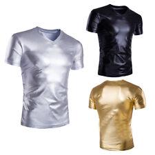 Herren V-Ausschnitt T-Shirt Glänzend Wetlook Lack Leder Club Party Muskel Shirt