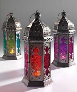 Moroccan Large Iron & Tonal / Tall Glass Lanterns Tealight Holder Home & Garden
