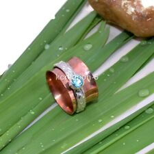 New Blue Topaz Solid Copper Silver Band Spinner Ring Statement Ring All Size k36