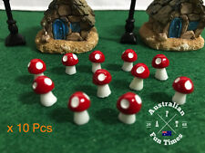 10pcs Mini Red Mushrooms for Miniature Plant Pots Fairy Decor Garden Magic Craft