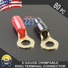 "8 Gauge Gold Ring Terminal 80pc Pack Wire Crimp Cable Red Black Boots 3/8"" Stud"