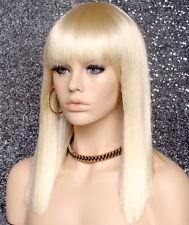 Sexy Choppy ends Beach Blonde Wig Straight Blunt Bangs Hair Piece DC 613