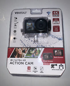 Sealed Vivitar DVR922HD-BLK-WM 360 Degree View 4K Action Camera WiFi Mic, Black