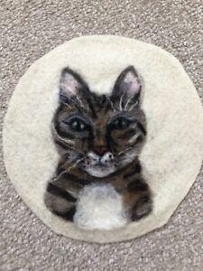 Tabby Cat Needle Felt Picture, Handmade, Ooak, Fiber Art, Wool, Pet Portrait