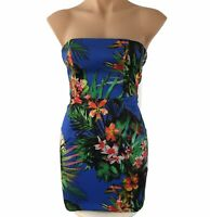 Forever New Blue Floral Mini Dress Size 6 Strapless Back Zip Feature Lined