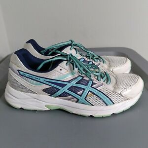 Asics Gel Contend 3 Women's Size 10 Running Shoes White/Blue Sneakers T5F9Q