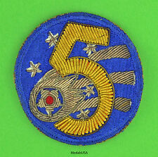 US Army 5th Air Force Theater-Made Bullion Patch -  Original WW2 WWII