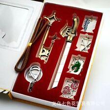 7pcs Attack on Titan Shingeki no Kyojin Badge Blade swords Necklace Pendant NWB