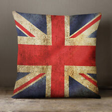 """Union Jack Grunge"" 40 x 40cm Printed Edge to Edge Cushion. Personalised Gift"