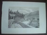 XIX Zeichnung Original Tal der Zorn Antik Lock & Tunnel Eisenbahn