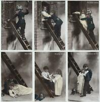 SET of 6 VINTAGE YOUNG BOY FIREMAN RESCUES PRETTY YOUNG GIRL POSTCARDS ALL USED