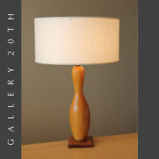 ICONIC MID CENTURY BOWLING PIN WOOD TABLE LAMP! Vtg 50s Eames Home Decor