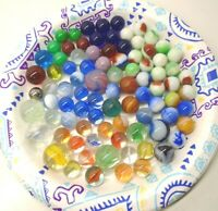 Vintage Lot of 86 Marbles Various Colors, Types and Sizes
