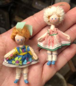 Charming Pair Vintage Grecon England Little Girl Dollhouse Dolls Metal Feet