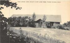 THE LODGE GIRL SCOUT CAMP LONE TREE THREE RIVERS MICHIGAN POSTCARD (c. 1930s)