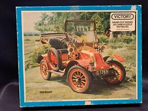 C1950 Victory Wooden Jigsaw Puzzle 100pc 1908 Renault Orig Box