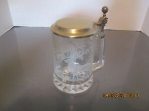 ETCHED GLASS STEIN WITH LID