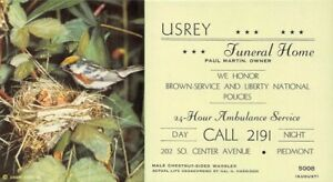 """Usrey Funeral Home Piedmont Small Advertising Blotter 6"""" by 3 1/2"""" Warbler"""
