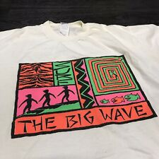 Vintage 90's Surf Surfer Big Wave Neon T-Shirt Men's sz XL Ocean Sea SB Tee