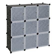Mobiletto armadio modulare quadrato impermeabile resistente NERO 9 scomparti