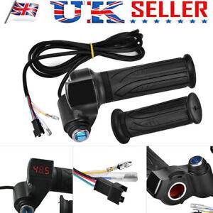 12-72V Scooter Electric Bike E-Bike Throttle Grip Handlebar Meter LED Display UK