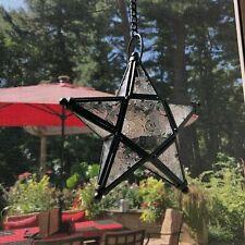 """5X Richland 8"""" Black Hanging Star Glass Votive Metal Garden Lanterns"""