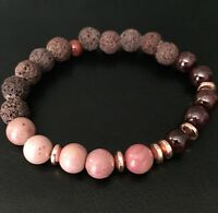 Essential Oil Diffuser Bracelet Lava Rock Garnet Agate Stone Beaded Jewelry