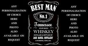 ANY Personalisation Full Jack Daniels Whiskey Bottle Label Gift For Best Man Etc