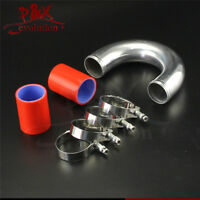 "180 degree 57mm 2.25"" Aluminum Turbo Intercooler tube Pipe+silicon hose+clamp RD"