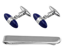 Sterling Silver Lapis Bullet Cufflinks Tie Clip Box Set