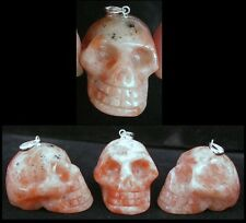 1 Small SUNSTONE Crystal Skull Pendant / Pendulum w/ Sterling Silver Bale!