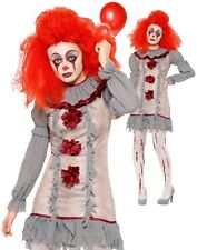 Vintage Clown Costume Ladies Halloween Horror Scary Fancy Dress Pennywise New