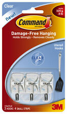 3m Command Utensil Clear Wire Hooks & Strips Damage Free Holds 225g 1 x 3 Hooks