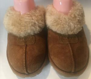 UGG Womans Brown Suede Shearling Lined Mule Slippers 7 Warm Winter Hard Sole