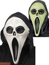 Glow in The Dark Screamer Mask Black and White Adult Smiffys Fancy Dress Masks