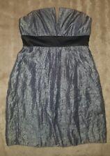 WOMENS Sz 10 grey & black ANISE shiny strapless dress LOVELY! ZIPS AT SIDE!