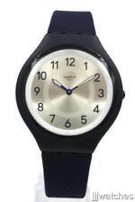 New Swatch SKINNIGHT Navy Blue Silicone Skin Watch 40mm SVUN101 $120
