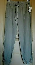SANCTUARY CLOTHING WOMENS PANTS solid drawstring waist Grey Blue Tencel Jogger M