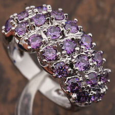 Chunky Statement Ring New Size 6/M Silver Purple Amethyst Cubic Zirconia Thick
